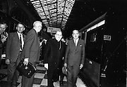 17/07/1967<br /> 07/17/1967<br /> 17 July 1967<br /> Cardinal John Cody, Archbishop of Boston arrives at Heuston Station, Dublin. Image shows John Slattery, Executive Secretary C.T.S.I. (Catholic Truth Society of Ireland); Mr. Twomey, Veritas Travel; Cardinal Cody and An Tanaiste Frank Aiken, Minister for External Affairs at Heuston Station.