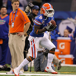 Jan 01, 2010; New Orleans, LA, USA;  Florida Gators wide receiver Deonte Thompson (6) during warm ups prior to kickoff against the Cincinnati Bearcats for the 2010 Sugar Bowl at the Louisiana Superdome.  Mandatory Credit: Derick E. Hingle-US PRESSWIRE..