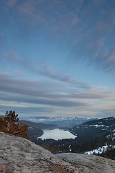 """Donner Lake Sunset 6"" - Photograph of a tree and boulder at sunset above Donner Lake and Truckee, California."