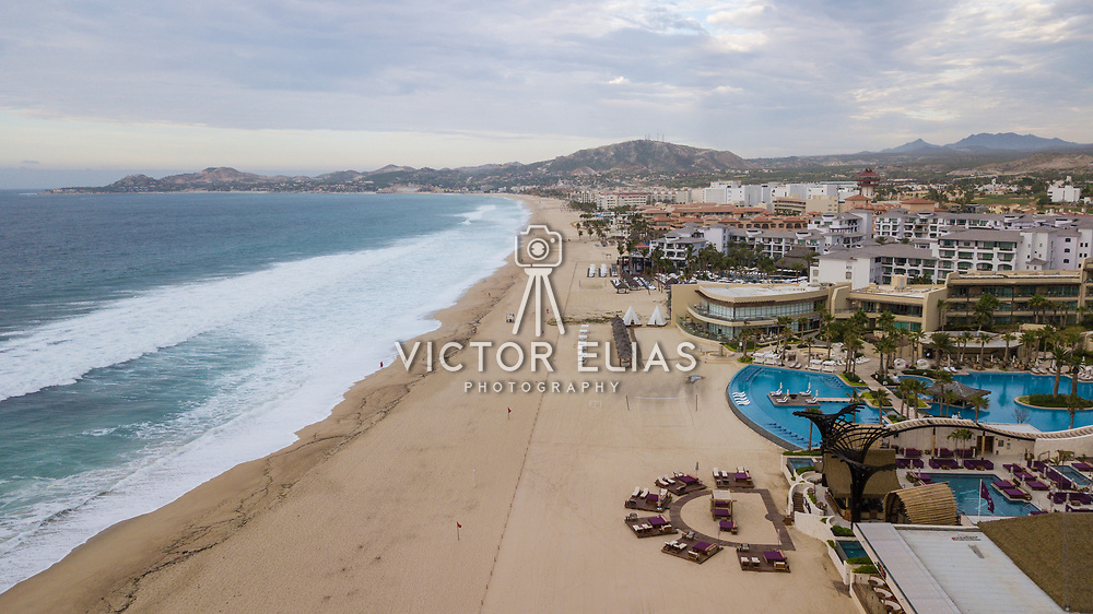 Aerial view of the hotel zone from the beach. San Jose del Cabo, BCS.