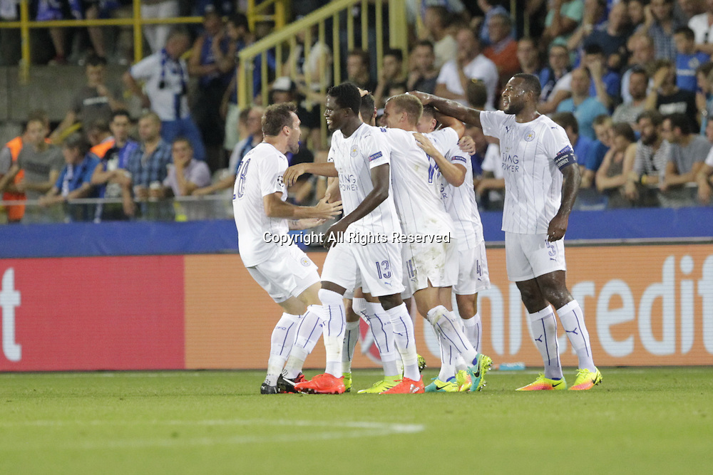 14.09.2016. Stadium Jan Breydel, Bruge, Belgium. UEFA Cahmpions league football. FC Bruges versus Leicester City.  Célébration for his 1st goal from  Riyad Mahrez in the 29th minute