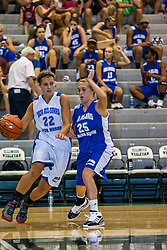 16 June 2012: Jessica Gerig defended by Jessica Hersch. Illinois Basketball Coaches Association (IBCA) Girls All Star game at the Shirk Center in Bloomington IL