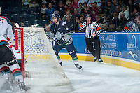 KELOWNA, CANADA - APRIL 3: Sam McKechnie #5 of the Seattle Thunderbirds skates against the Kelowna Rockets on April 3, 2014 during Game 1 of the second round of WHL Playoffs at Prospera Place in Kelowna, British Columbia, Canada.   (Photo by Marissa Baecker/Getty Images)  *** Local Caption *** Sam McKechnie;