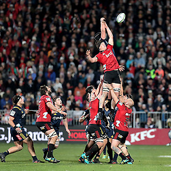 Lineout action from the Super Rugby match between the Crusaders and Highlanders at Wyatt Crockett Stadium in Christchurch, New Zealand on Friday, 06 July 2018. Photo: Martin Hunter / lintottphoto.co.nz