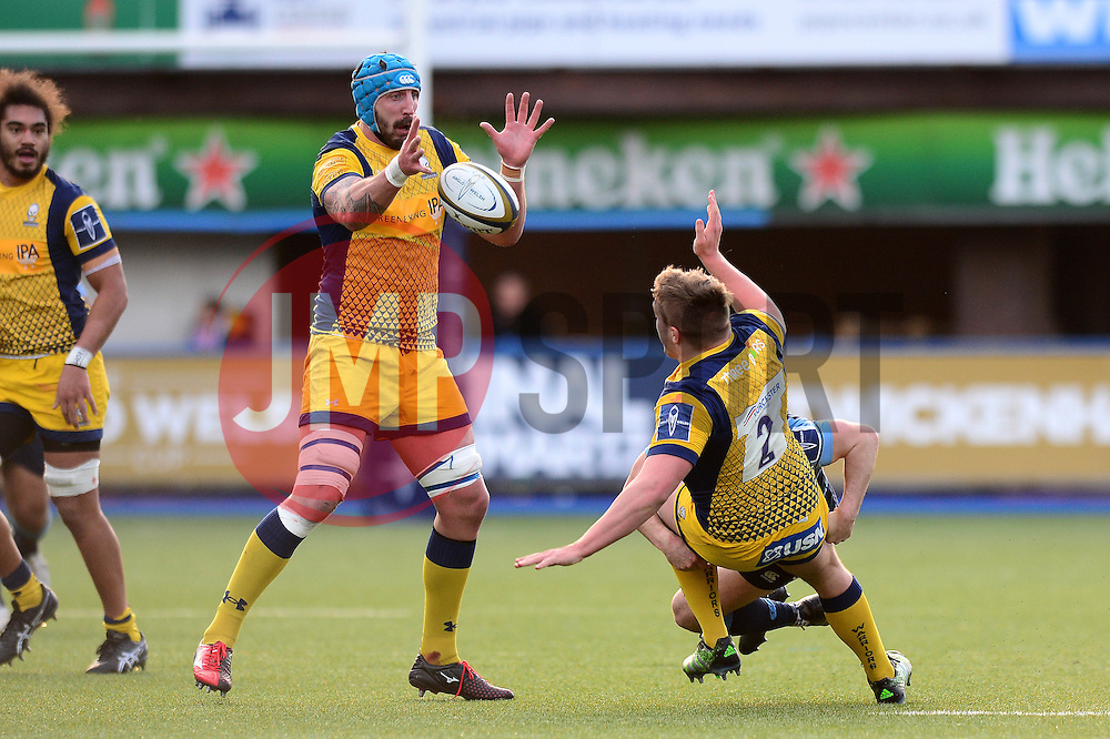 Jack Singleton of Worcester Warriors plays a pass as he is tackled to Will Spencer - Mandatory by-line: Dougie Allward/JMP - 04/02/2017 - RUGBY - BT Sport Cardiff Arms Park - Cardiff, Wales - Cardiff Blues v Worcester Warriors - Anglo Welsh Cup