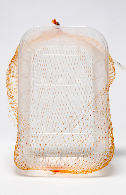 empty clear plastic fruit basket with orange net
