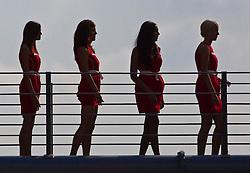 11.09.2011, Autodromo Nationale, Monza, ITA, F1, Grosser Preis von Italien, Monza, im Bild Silhouetten von Grid Girls auf einer Brücke  // during the Formula One Championships 2011 Italian Grand Prix held at the Autodromo Nationale, Monza, near Milano, Italy, 2011-09-11, EXPA Pictures © 2011, PhotoCredit: EXPA/ J. Feichter