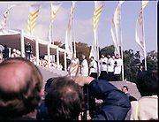 Pope John-Paul II visits Ireland..1979..29.09.1979..09.29.1979..29th September 1979..Today marked the historic arrival of Pope John-Paul II to Ireland. He is here on a three day visit to the country with a packed itinerary. He will celebrate mass today at a specially built altar in the Phoenix Park in Dublin. From Dublin he will travel to Drogheda by cavalcade. On the 30th he will host a youth rally in Galway and on the 1st Oct he will host a mass in Limerick prior to his departure from Shannon Airport to the U.S..Image shows Pope John-Paul II climbing the steps towards the altar.