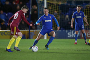 AFC Wimbledon midfielder Anthony Hartigan (8) battles for possession with Ipswich Town attacker Freddie Sears (20) during the EFL Sky Bet League 1 match between AFC Wimbledon and Ipswich Town at the Cherry Red Records Stadium, Kingston, England on 11 February 2020.