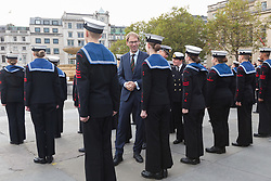 © Licensed to London News Pictures. 22/10/2017. LONDON, UK.  TOBIAS ELLWOOD MP inspects the sea cadets in Trafalgar Square. Four hundred sea cadets from across the UK march from Horse Guards Parade to Trafalgar Square to mark the 212th anniversary of the Battle of Trafalgar.  Photo credit: Vickie Flores/LNP