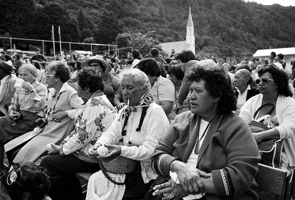 Local spectators at traditional maori ceremony, New Zealand