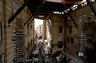 Egypt . Cairo : market in AL Mu'izz LI DIN Allah street .between  THE GHURIYA, Al Ghuri mosque and khanqa complex   under the new middle age rooftop .Islamic Cairo    The Funerary Complex of al-Ghuri, Madrasa, Mosque, Khanqah, Mausoleum and Sabil-Kuttab NM 189 , 65 66 67