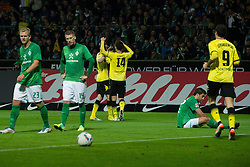 14.10.2011, Weser Stadion, Bremen, GER, 1.FBL, Werder Bremen vs Borussia Dortmund, im Bild.Jubel Ivan Perisic (Dortmund #14) nach dem 0:1 Sokratis (Bremen #22) am Boden li wb1^4 und Andreas Wolf (Bremen #23) re Robert Lewandowski (Dortmund #9).// during the Match GER, 1.FBL, Werder Bremen vs Borussia Dortmund on 2011/10/14,  Weser Stadion, Bremen, Germany..EXPA Pictures © 2011, PhotoCredit: EXPA/ nph/  Kokenge       ****** out of GER / CRO  / BEL ******