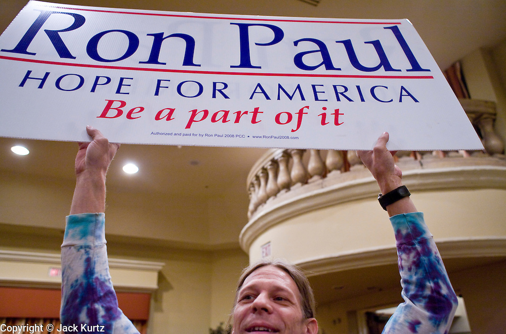 "May 22, 2008 - Phoenix, AZ: TOM STRIZAK, from Black Canyon City, AZ, waits to listen to Ron Paul in Phoenix Thursday. Strizak said he supported Paul's presidential campaign because ""Ron Paul is our last hope."" About 850 people crowded into the ballroom at the Pointe Hilton Squaw Peak Resort in Phoenix, AZ, to hear Republican presidential hopeful Ron Paul speak. Although Arizona Sen. John McCain is the ""presumptive"" Republican candidate for president, Texas Congressman Ron Paul is staying in the race and actively campaigning for the Presidency. Photo by Jack Kurtz"