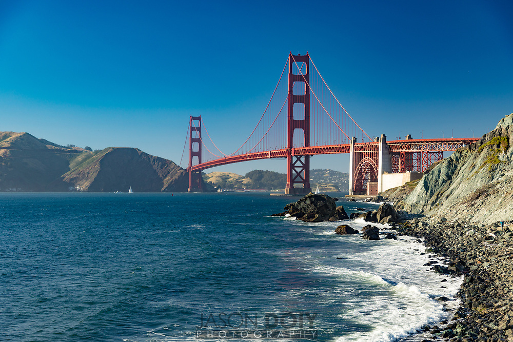 Looking North towards Golden Gate Bridge on Marshall Beach in San Francisco