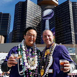 Feb 3, 2013; New Orleans, LA, USA; Baltimore Ravens fans Andy Zambito (right) and Dave Chung pose for a photo before Super Bowl XLVII against the San Francisco 49ers at the Mercedes-Benz Superdome. Mandatory Credit: Derick E. Hingle-USA TODAY Sports