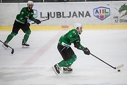 Rajsar Saso of HK Olimpija during Ice Hockey match between HK SZ Olimpija and EC KAC II during 1st round of Alps Hockey League 2019/20, on September 14, 2019, in Hala Tivoli, Ljubljana, Slovenia. Photo by Grega Valancic