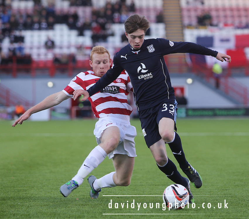 Dundee's Craig Wighton and Hamilton's Ziggy Gordon - Hamilton Academical v Dundee, SPFL Championship at New Douglas Park<br /> <br />  - &copy; David Young - www.davidyoungphoto.co.uk - email: davidyoungphoto@gmail.com