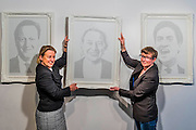 Natalie Bennett (pictured), leader of the Green Party, unveils portraits of the five main UK party leaders, hand-written from Twitter opinions by artist Annemarie Wright (pictured). The portraits are of David Cameron, Ed Miliband, Nick Clegg, Nigel Farage and Natalie Bennett, who is the local Green Party candidate for Holborn and St Pancras. Each portrait takes her 30-40 hours to create, using varying thickness of pens. Woolff Gallery, Charlotte Street, London.