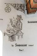 hist. Wandbilder im Leuchtturm, Hafen von Lindau, Bodensee, Bayern, Deutschland