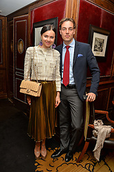 "EVA LANSKA and DAVID GIGAURI at a party to celebrate the publication of ""Lady In Waiting: The Wristband Diaries"" By Lady Victoria Hervey held at The Goring Hotel, Beeston Place, London on 9th May 2016."
