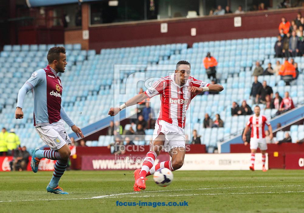 Steven N'Zonzi (centre) of Stoke City scores his sides third goal during the Barclays Premier League match at Villa Park, Birmingham<br /> Picture by Tom Smith/Focus Images Ltd 07545141164<br /> 23/03/2014