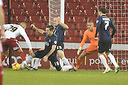 Sheffield United forward Che Adams blocked by Southend United defender Ryan Leonard during the Sky Bet League 1 match between Sheffield Utd and Southend United at Bramall Lane, Sheffield, England on 14 November 2015. Photo by Ian Lyall.