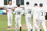 WICKET - Dieter Klein is congratulated for the wicket of Alex Davies during the Specsavers County Champ Div 2 match between Leicestershire County Cricket Club and Lancashire County Cricket Club at the Fischer County Ground, Grace Road, Leicester, United Kingdom on 25 September 2019.