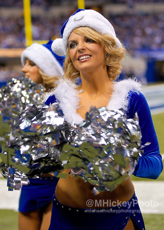 Dec. 22, 2011; Indianapolis, IN, USA; An Indianapolis Colts cheerleader seen during the game seen during game against the Houston Texans at Lucas Oil Stadium. Indianapolis defeated Houston 19-16. Mandatory credit: Michael Hickey-US PRESSWIRE