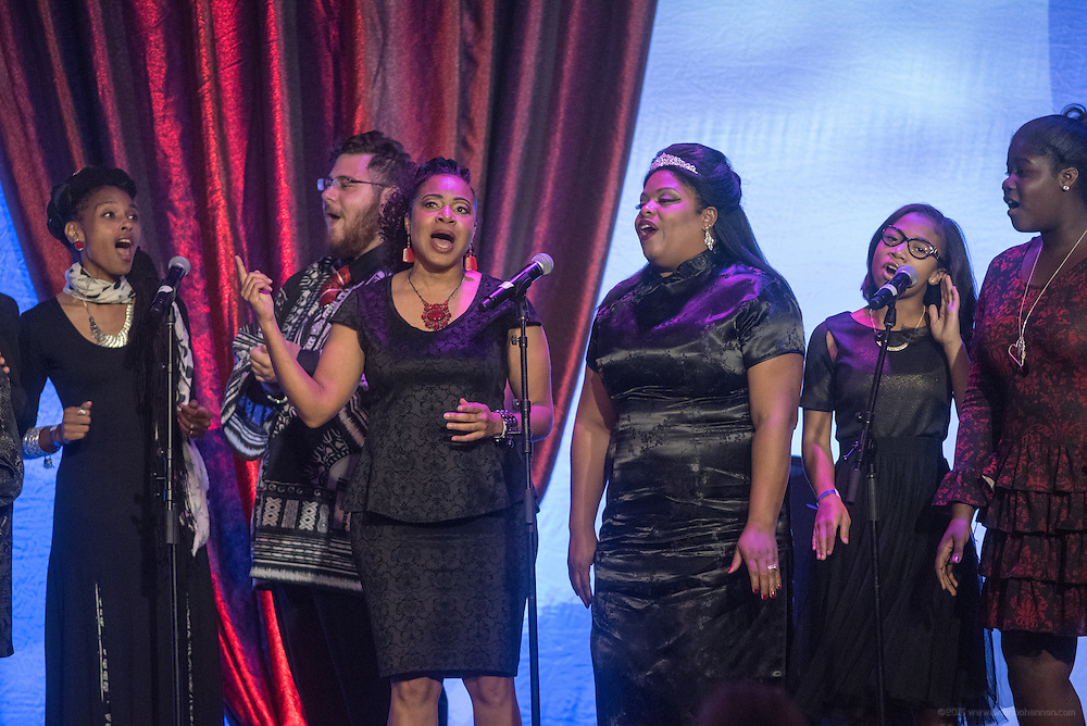The Humanity Passport Project Greater Community Choir, founded by Ambassador Shabazz, gives the closing performance at the fourth annual Muhammad Ali Humanitarian Awards Saturday, Sept. 17, 2016 at the Marriott Hotel in Louisville, Ky. (Photo by Brian Bohannon for the Muhammad Ali Center)