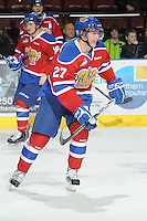 KELOWNA, CANADA - FEBRUARY 15: Curtis Lazar #27 of the Edmonton OIl Kings skates on the ice against the Kelowna Rockets on February 15, 2012 at Prospera Place in Kelowna, British Columbia, Canada (Photo by Marissa Baecker/Getty Images) *** Local Caption *** Curtis Lazar;