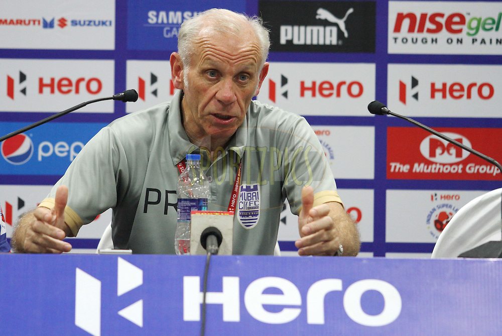 Mumbai City FC coach Peter Reid during the press conference of  match 11 of the Hero Indian Super League between Mumbai City FC and North East United FC City held at the D.Y. Patil Stadium, Navi Mumbai, India on the 24th October 2014.<br /> <br /> Photo by:  Vipin Pawar/ ISL/ SPORTZPICS