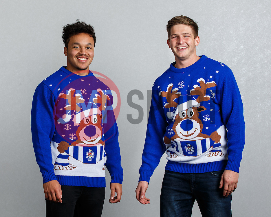 Elias Caven and Auguy Slowik of Bristol Rugby show off the new Bristol Sport Rugby Christmas Jumper - Mandatory byline: Rogan Thomson/JMP - 12/11/2015 - RUGBY UNION - Ashton Gate Stadium - Bristol, England - Bristol Sport Christmas Jumper Launch.
