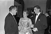 20/10/1962<br /> 10/20/1962<br /> 20 October 1962<br /> Edward Dillon and Co. Ltd reception at the Gresham Hotel, Dublin. Pictured prior to the Irish Hotelier Federation Dinner Dance were (l-r): Mr. D. McCaughey, Vice President Irish Hotelier Federation; Mrs W. Campbell and Mr. N. Beamish, Director of Edward Dillon and Co.