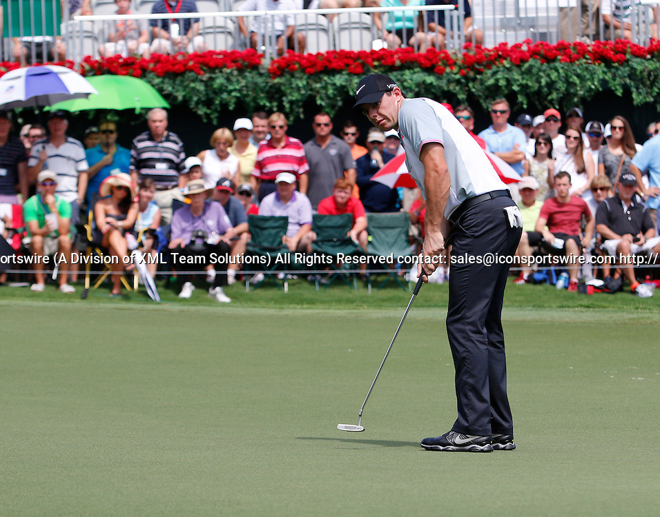 September 12, 2014:  Rory McIlroy on the 18th green during the second round of the FedEx Cup - The Tour Championship at East Lake Golf Club in Atlanta, Georgia.