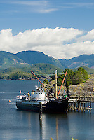 MV Uchuck, a working vessel on the British Columbia Coast also provides support for Kayakers and tours into Friendly Cove.  Friendly Cove, Vancouver Island, Canada.
