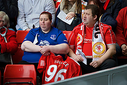 LIVERPOOL, ENGLAND - Friday, April 15, 2016: Liverpool and Everton supporters during the 27th Anniversary Hillsborough Service at Anfield. (Pic by David Rawcliffe/Propaganda)