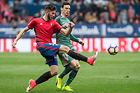 David Garcia of Club Atletico Osasuna and Aritz Aduriz of Athletic Club during the match of  La Liga between Club Atletico Osasuna and Athletic Club Bilbao at El Sadar Stadium  in Pamplona, Spain. April 01, 2017. (ALTERPHOTOS / Rodrigo Jimenez)