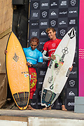 Leon Glatzer (GER) on the right, crowned Quicksilver Men's Pro Champion, with Runner Up, Pedro Henrique (PRT) at Boardmasters 2019 at Fistral Beach, Newquay, Cornwall, United Kingdom on 11 August 2019.