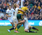 Twickenham, United Kingdom, Englands'  left. Billy TWELVETREES and right low Chris ROBsHAW combine to stop, Isreal FOLAU, during the 2013 QBE Autumn<br /> Rugby International, England vs Australia, played<br /> Saturday  02/11/2013.  RFU Stadium Twickenham,<br /> England. [Mandatory Credit: Peter Spurrier/Intersport<br /> Images]