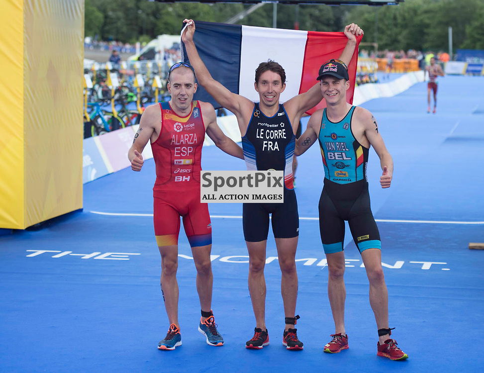 Pierre Le Corre of France celebrates winning along with Fernando Alarza of Spain who came second and Marten van Riel of Belgium who came third the Men's Elite Standard Race, ETU Triathlon,  European Championships, Strathclyde Park, Motherwell Scotland, Friday 10 August 2018, (c) Angie Isac | SportPix.org.uk