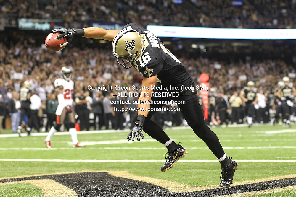 16 DEC 2012:    Lance Moore (16) of the Saints catches a touchdown pass and then celebrates in the end zone during the regular season game between the Tampa Bay Buccaneers and the New Orleans Saints at the Mercedes-Benz Superdome in New Orleans, LA.