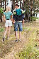 Rear view of young hiking couple holding hands while walking in forest