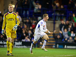 BIRKENHEAD, ENGLAND - Saturday, January 3, 2015: Tranmere Rovers' Max Power celebrates scoring the first goal against Swansea City during the FA Cup 3rd Round match at Prenton Park. (Pic by David Rawcliffe/Propaganda)
