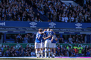 Everton celebrate opening the scoring in the game. 1-0 during the Barclays Premier League match between Everton and Norwich City at Goodison Park, Liverpool, England on 15 May 2016. Photo by Mark P Doherty.
