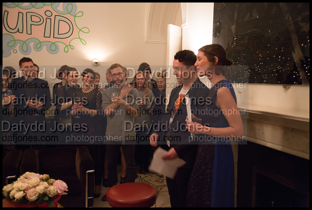 JOE SCOTLAND; VALERIA NAPOLEONE, Frieze dinner  hosted at by Valeria Napoleone for  Marvin Gaye Chetwynd, Anne Collier and Studio Voltaire 20th anniversary autumn programme. Kensington. London. 14 October 2014.