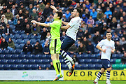 Preston North End Defender Greg Cunningham battles during the Sky Bet Championship match between Preston North End and Huddersfield Town at Deepdale, Preston, England on 6 February 2016. Photo by Pete Burns.