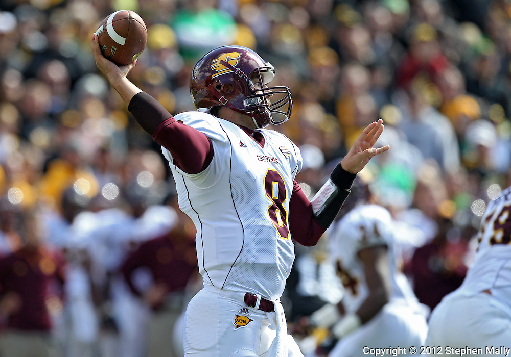 September 22 2012: Central Michigan Chippewas quarterback Ryan Radcliff (8) throws a pass during the first half of the NCAA football game between the Central Michigan Chippewas and the Iowa Hawkeyes at Kinnick Stadium in Iowa City, Iowa on Saturday September 22, 2012. Central Michigan defeated Iowa 32-31.