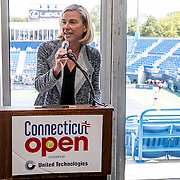 August 24, 2016, New Haven, Connecticut: <br /> Tournament Director Anne Worcester speaks at the Mayor's Women's Legislators Luncheon during Day 6 of the 2016 Connecticut Open at the Yale University Tennis Center on Wednesday, August  24, 2016 in New Haven, Connecticut. <br /> (Photo by Billie Weiss/Connecticut Open)