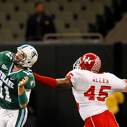 November 10, 2011; New Orleans, LA, USA; Houston Cougars linebacker Lloyd Allen (45) pressures Tulane Green Wave quarterback Ryan Griffin (11) to throw during the second quarter at the Mercedes-Benz Superdome.  Mandatory Credit: Derick E. Hingle-US PRESSWIRE
